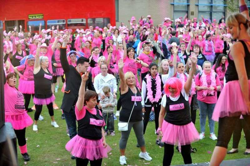 Aby's warm up with hundreds of ladies ready for the Dougie Mac Moonlight Walk