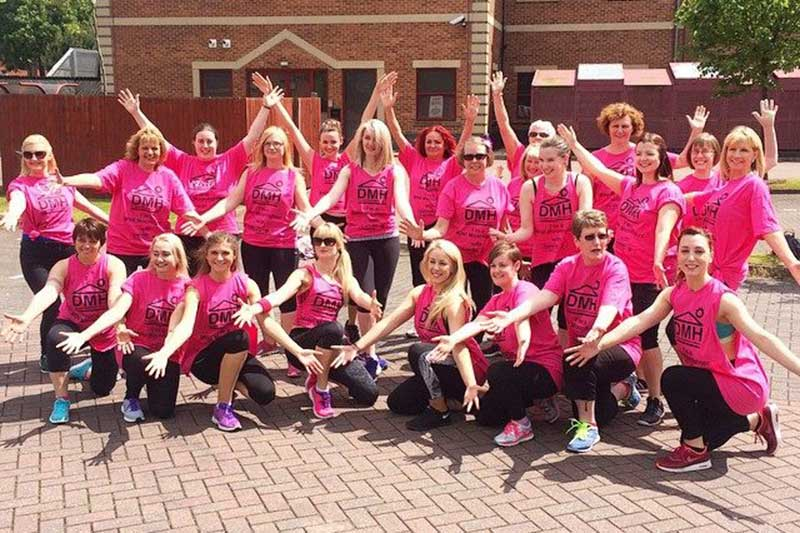 Aby with her Fitstep ladies ready to perform dance flash mob in aid of Dougie Mac